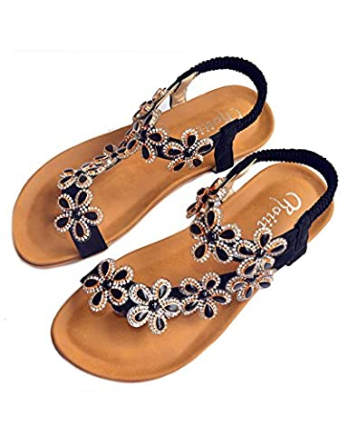 Roiii WOMENS LADIES DIAMANTE JELLY SANDALS SUMMER BEACH FLIP FLOPS TOE POST SHOES SIZE (UK Size 3,