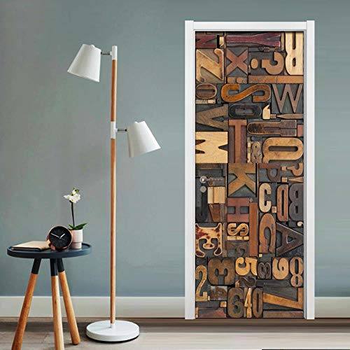 3D tür aufkleber wandaufkleber poster szene buchstaben aufkleber tür dekoration holztür wohnzimmer bad PVC vinyl DIY schlafzimmer dekoration 90x200 cm