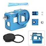 SHOOT Aluminium Legierung Skelett schützende Gehäuse Case mit 52mm UV Filter für GoPro Hero 5 Action Kamera mit Hintere Abdeckung(Blau)