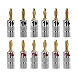 Bolongking 12 pcs 24K Gold Nakamichi Speaker banana plug Audio Jack connector