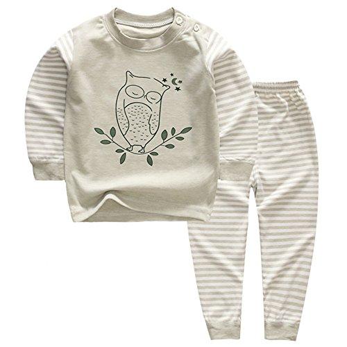 XFentech Neugeborene Kinder Baby Mädchen Jungen Outfits Kleidung Lange Ärmel Tops T-Shirt + Hosen kleidung set 2 Stück Bekleidungssets, Eulen Muster Neugeborene Jungen Kleidung Unterwäsche