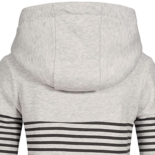 Sublevel Damen Sweatshirt Hoodie Kapuze LSL-287 Streifen Light Grey Melange
