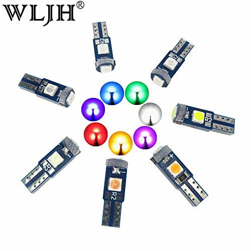 Wljh 35 pcs T5 LED Intérieur Blubs 74 2721 73 3smd 3030 Garde toujours CANBUS sans erreur LED Cluster de jauge de tableau de bord Tableau de bord voyant Blanc (Jaune Bleu glacier Rose Bleu/vert/rouge)