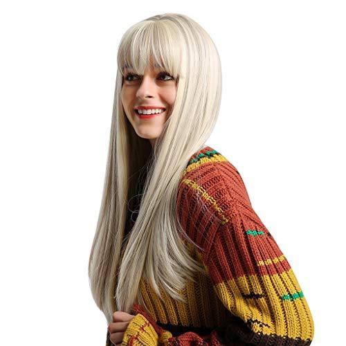 Sisit Chemiefaser Perücke Hellfransen Beige Farbverlauf Lang Glattes Haar Perücke mit natürlichem Aussehen und sanfter Berührung perfekt für Party Cosplay und Kostüm 24 Zoll