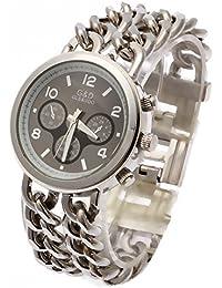 GAOHAILONG Reloj de cuarzo reloj de mujer doble cadena acero inoxidable Dial de plata mujer,