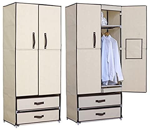WOLTU Steel Pipe and Canvas Beige Clothes Storage Wardrobe Organiser Unit Rack Hanging Rail 2 Shelves and 2 Drawers,