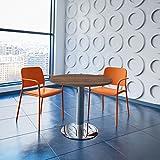 WeberBÜRO Optima runder Besprechungstisch Ø 80 cm Nussbaum Verchromtes Gestell Tisch Esstisch