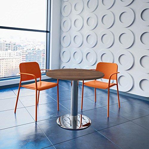 Weber Büro OPTIMA runder Besprechungstisch Ø 80 cm Nussbaum Verchromtes Gestell Tisch Esstisch