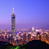 lunaprint Evening Skyline of Taipei Taiwan Home Decor Art