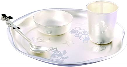GoldGiftIdeas Silver Plated Dinner Set, Baby Dinner Set, Silver Plated Gift Items/Perfect for Birthday and Return Gift