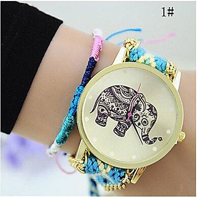 Fashion Watches Relojes Hermosos, Las Mujeres de Moda Chica Hecha a Mano Tejida Reloj quarzt de línea Pulsera Trenzada Elefante