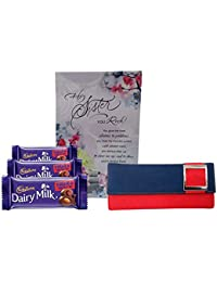 Saugat Traders Gift For Sisters - Women's Wallet, Greeting Card & Dairy Milk Chocolate