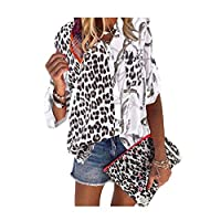 DUe Womens Leopard Stand Collar Blouse Splice Painting Plus Size T-Shirt White XL