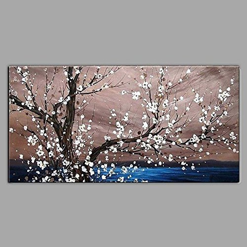40 Zeitgenössische Leinwand (WJ-HOME Öl Malerei von Hand bemalt - Landschaft Blumen/Botanischer zeitgenössische Moderne Leinwand gehören Innerer Rahmen, 40