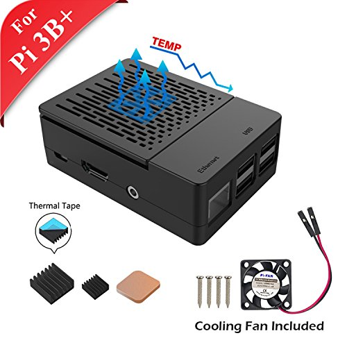 GeeekPi Cover for Raspberry Pi 3 Modelo B, with cooling fan and heatsinks Thermal 3PCS for Raspberry Pi 3/2 Modelo B (It includmodel Bate Raspberry Pi) (Negro)