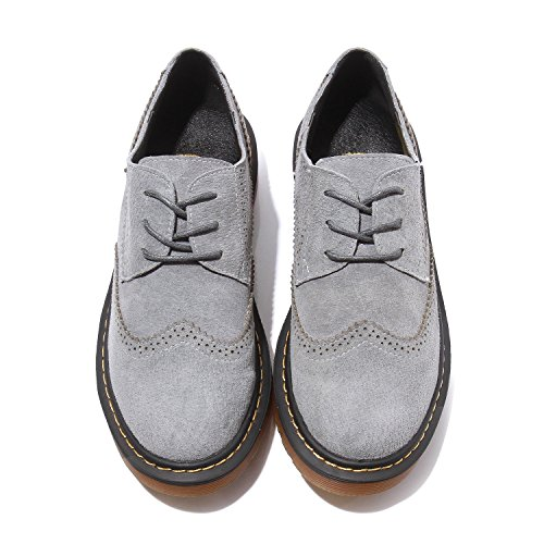 Smilun Lady's Full Brogue scarpe Derby Classic camoscio ballerine punta tonda Grey