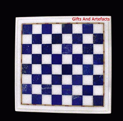 Einlegearbeiten Art 38,1cm quadratisch weiß Marmor Chess Tisch Top Einlage Lapislazuli Stein