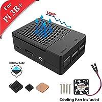 GeeekPi Gehäuse für Raspberry Pi 3 Modell B+, mit Lüfter und 3 Stück Kühlkörper für Raspberry Pi 3/2 Modell B (Nicht Raspberry Pi Board)(schwarz)