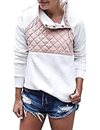 Sudadera para Mujer,Moda Mujer Cuello Redondo Otoño Invierno Tops Franela Patchwork Manga Larga Suéter