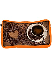 Snoogg Eco Friendly Canvas Coffee Heart Designer Student Pen Pencil Case Coin Purse Pouch Cosmetic Makeup Bag
