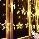 Yinuo Mirror® 12 Sterne LED Lichtervorhang Lichterkette im Innen/Außen, Niederspannung Sternenvorhang warmweiß, wasserdicht IP65, 8 Fernbedienung Leuchtmodi, Weihnachtsdeko Fenster Garten (2.2x1M)