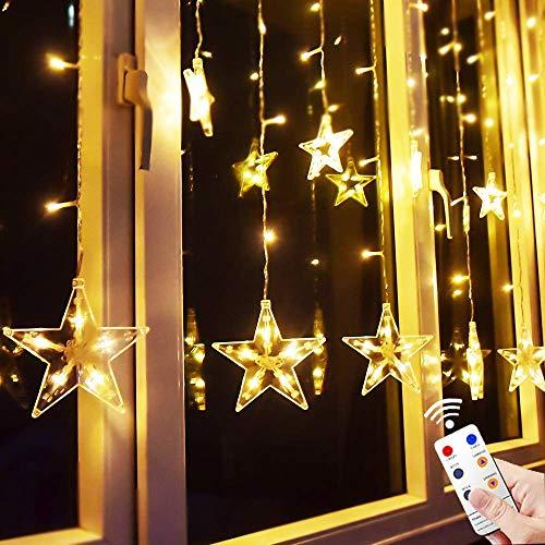 fenster beleuchtung Yinuo Mirror® 12 Sterne LED Lichtervorhang Lichterkette im Innen/Außen, Niederspannung Sternenvorhang warmweiß, wasserdicht IP65, 8 Fernbedienung Leuchtmodi, Weihnachtsdeko Fenster Garten (2.2x1M)