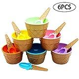 TOPFAY 6 cucharadas de Helado de Postre con Colorido Cuencos de plástico para Llevar Yogurt Helado Copa