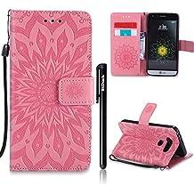 """Coque LG G5, LG G5 Flip Coque, Btduck Etui Cuir PU Leather Housse [Étui en Imprinted sunflower] Anti Choc de Protection pas Transparente Wallet Coque Non Slip Souple Coque 360 Coque Pour LG G5(5.3"""") + 1X Noir Stylet Touchscreen Pen - rose"""