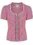 Spieth & Wensky - Karierte Damen Trachten Bluse mit Elasthan Einsatz in Verschiedenen Farben, Genf (301850-0948), Größe:34, Farbe:Kirschrot (4722)