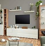lifestyle4living Lowboard in angesagtem matt weiß, TV-Board ausgestattet mit 1 Tür sowie 2 praktischen Doppelschubladen, Breite ca. 160 cm, sorgt für viel Stauraum