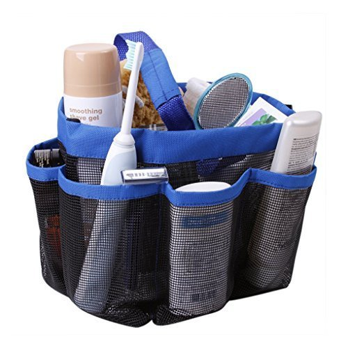 Holiberty Quick Dry Hanging Toiletry Cosmetics Bath Organizer with 8 Mesh Storage Pockets Portable Shower Tote Shower Organizer Mesh Shower Caddy Bathroom Accessories Bathrooms Bag Dorm Gym Camp & Travel Tote Bag Pouch with Handle - Blue by Holiberty