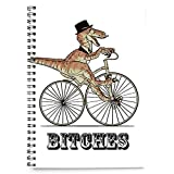 Cool dinosaur riding bike funny cover spiralbindung notizbuch 100 blatt (A4)