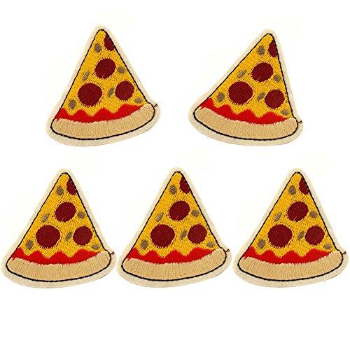 XUNHUI Pizza Flicken für Kleidung Eisen auf Aufnäher Cute bestickt Stoff Kleidung DIY Bekleidung Zubehör 5 Stück