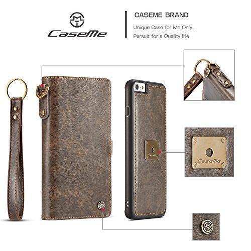SDDMALL CaseMe Geldbörse Ledertasche mit abnehmbarem Rücken mit Handgelenk Strap Card Slot für iPhone 6s Plus ( Color : Brown ) Brown
