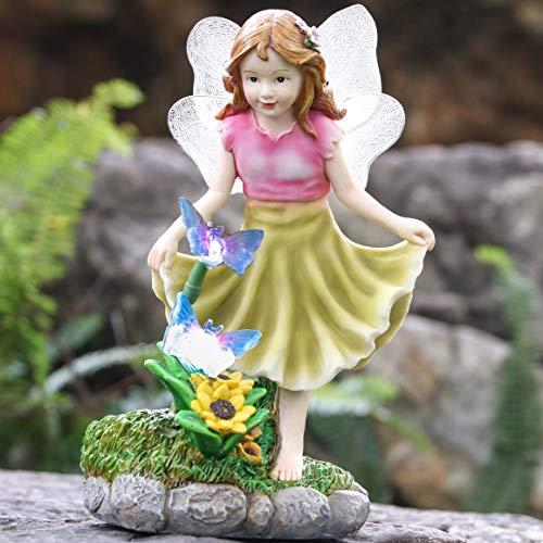 Teresa's Collections Engel Figuren Solar LED Gartenleuchten Gartendeko aus Kunstharz 24cm Wasserfest Fee Gartenfiguren für Außen Feengarten Frühling Dekoration Rosa und Gelb MEHRWEG Verpackung