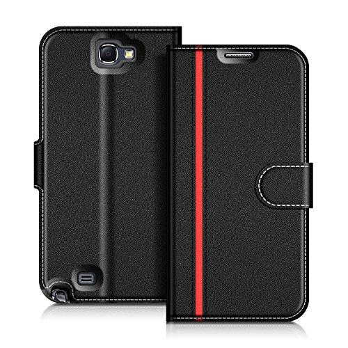 COODIO Handyhülle für Samsung Galaxy Note 2 Handy Hülle, Samsung Galaxy Note 2 Hülle Leder Handytasche für Samsung Galaxy Note 2 Klapphülle Tasche, Schwarz/Rot