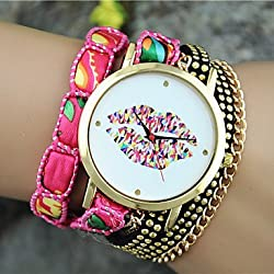 Beautiful Watches , Ladies' European Style Fashion Color Lip Wrist Watch Bracelet Watch