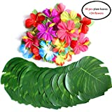 zantec 54pcs/set Simulation Hawaii Party Emulation Petals Leaf Requisiten Party Funny DIY Barbecue Ornament Home Dekoration 30 Blätter 20,3 cm + 24 Blumen