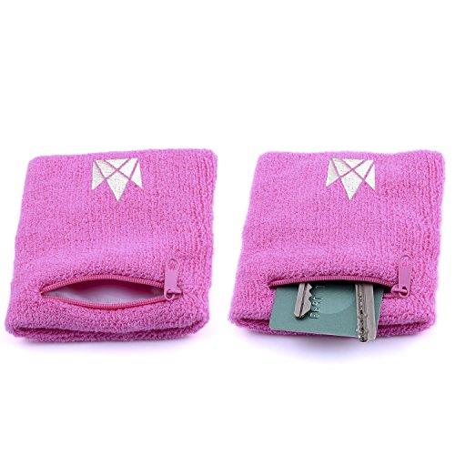 The Friendly Swede 2er-Set Schweißarmband mit praktischer Reißverschlusstasche (Pink, 16-21 cm)
