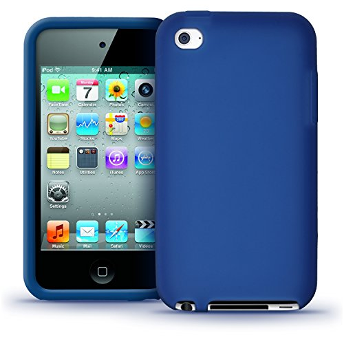 iGadgitz Blue Silicone Skin Case Cover for Apple iPod Touch 4th Generation 8gb, 32gb, 64gb + Screen Protector (5g Touch Ipod Skins Case)