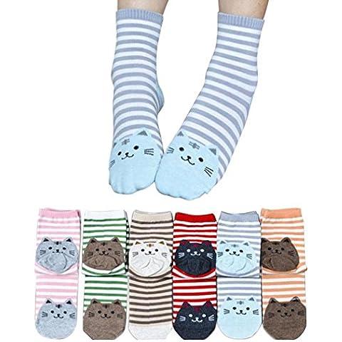 6Pair Animales de rayas calcetines de la historieta,Koly gato de las mujeres Huellas calcetines de algodón