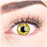 Funnylens Farblinsen 1 Paar deckend gelb Zeit Uhr Kontaktlinsen- schwarz Crazy Fun Time Keeper ohne Stärke + Behälter von Funnylens. Perfekt zu Halloween, Karneval, Fasching, Fasnacht oder Cosplay, Manga und Zombie Kostüme.