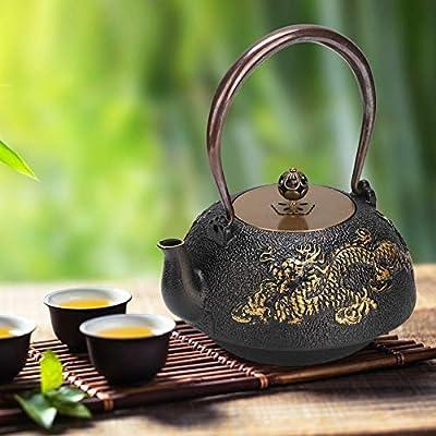 Bouilloire de théière de théière en fonte classique du Japon avec dragon double 1.2L