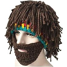 Amosfun Peluca Creativa Divertida Barba Sombreros de Lana Disfraces de Halloween Hobo Gorros Hechos a Mano