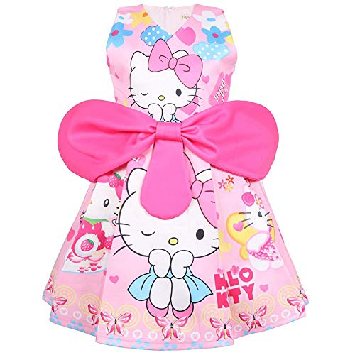 Kleinkind Kostüm Hello Kitty - QYS Hallo Kitty Little Girls Geburtstag Bow Kleid,Pink,110cm