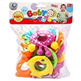 #2: Krishnam Presents New Born Baby Cute & Attractive Dugi Dugi Rattle Set Sweet Cuddle Infant Non Toxic Of JhunJhuna Lovely Mixed Colour Ful For Babies Girl And Boy Unisex Teethers Gift Set Toy With Attractive Figures (8 Pieces, Mix Color)