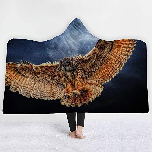 Sherpa Baumwolle Hut (Encounter G Owl-Serie Mit Kapuze Decke 3D Magie Mantel Kinder Decke Sofa Decke Trägt Hut Decke Sherpa Tragbare Samtdecke Reisedecke,Owl12,150 * 200cm)