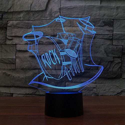 Rock Musikinstrumente 3D Nachtlicht Led Usb Trommeln Set 3D Lampe Baby Schlaf Beleuchtung Wohnkultur Schlafzimmer Party Stimmung Lampe