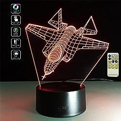 Deerbird® Avion de chasse Avion Illusion optique 3D LED télécommande Lampe de bureau avec 7 Couleurs Changement de lumière pour Enfants Cadeau du festival (Modes USB et 3 AA alimentés par batterie)