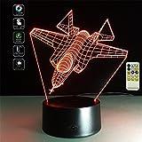 Deerbird® Avion de chasse Avion Illusion optique 3D LED télécommande Lampe de bureau avec 7 Couleurs Changement de lumière pour Enfants Cadeau du festival (Modes USB et 3 AA alimentés par batterie)...